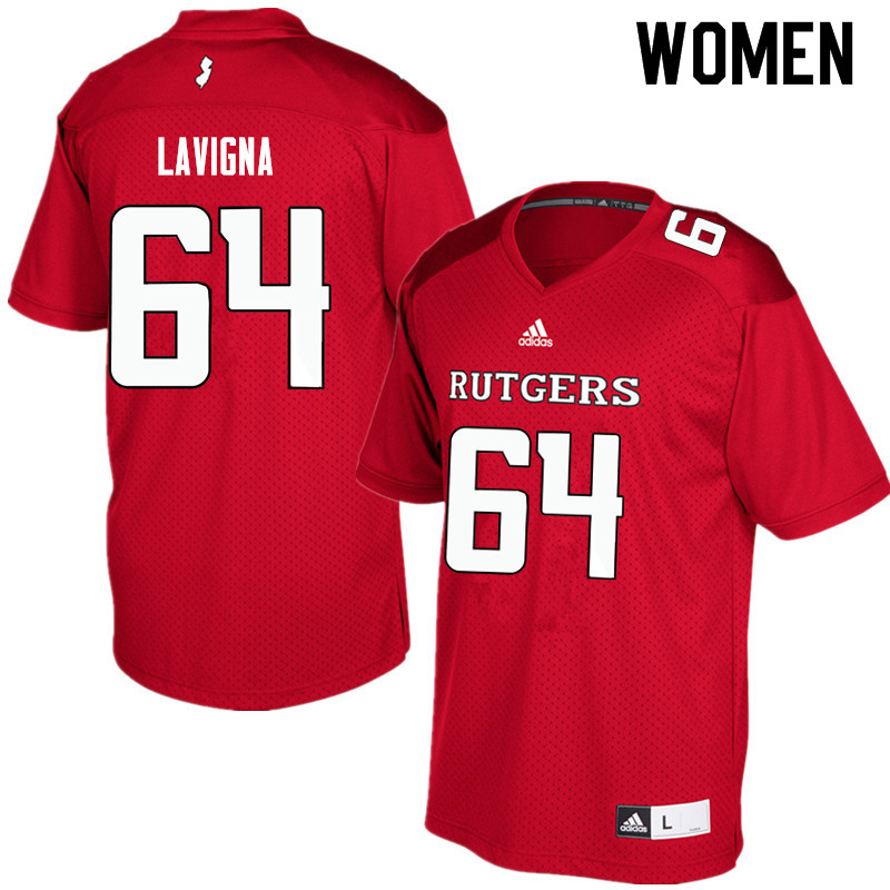 Women #64 Jason Lavigna Rutgers Scarlet Knights College Football Jerseys Sale-Red