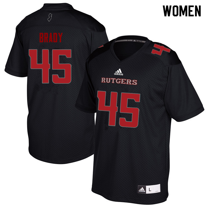 Women #45 Jim Brady Rutgers Scarlet Knights College Football Jerseys Sale-Black