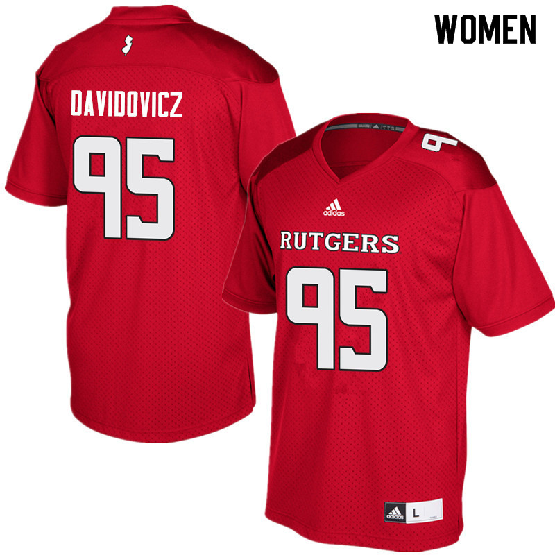 Women #95 Justin Davidovicz Rutgers Scarlet Knights College Football Jerseys Sale-Red