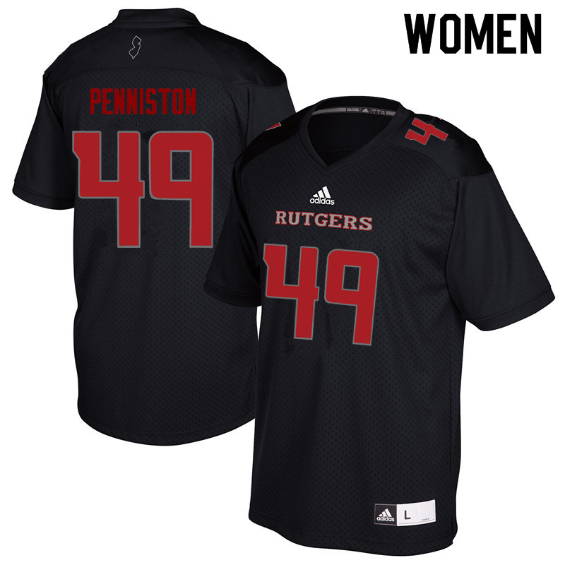 Women #49 Kyle Penniston Rutgers Scarlet Knights College Football Jerseys Sale-Black