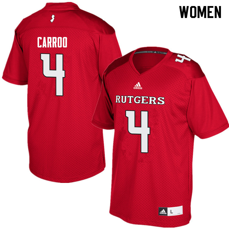 Women #4 Leonte Carroo Rutgers Scarlet Knights College Football Jerseys Sale-Red