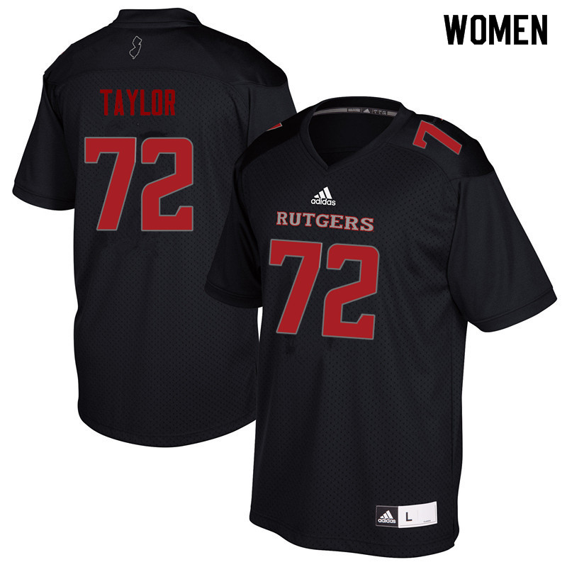 Women #72 Manny Taylor Rutgers Scarlet Knights College Football Jerseys Sale-Black