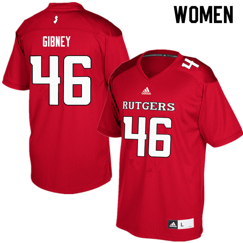 Women #46 Matt Gibney Rutgers Scarlet Knights College Football Jerseys Sale-Red