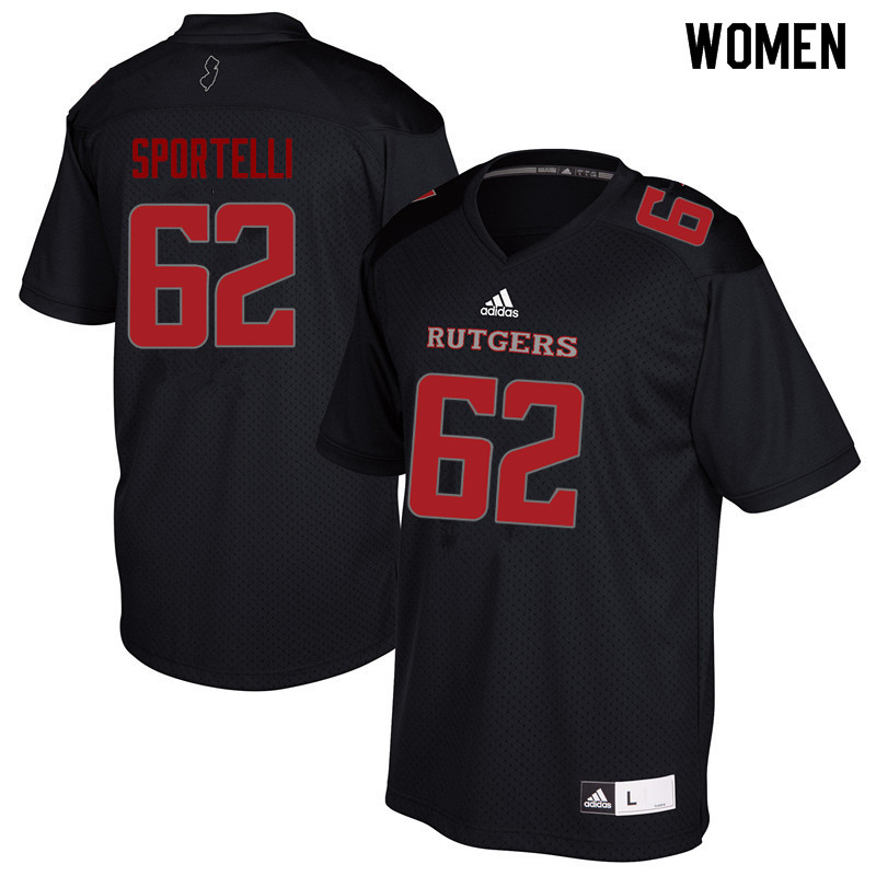 Women #62 Matthew Sportelli Rutgers Scarlet Knights College Football Jerseys Sale-Black