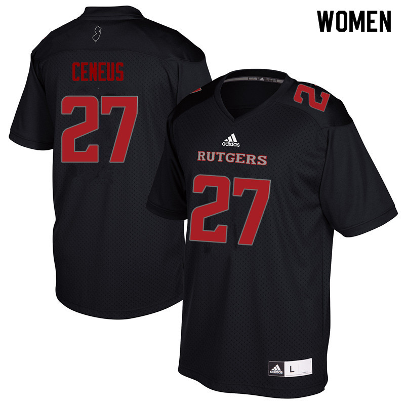 Women #27 McDerby Ceneus Rutgers Scarlet Knights College Football Jerseys Sale-Black