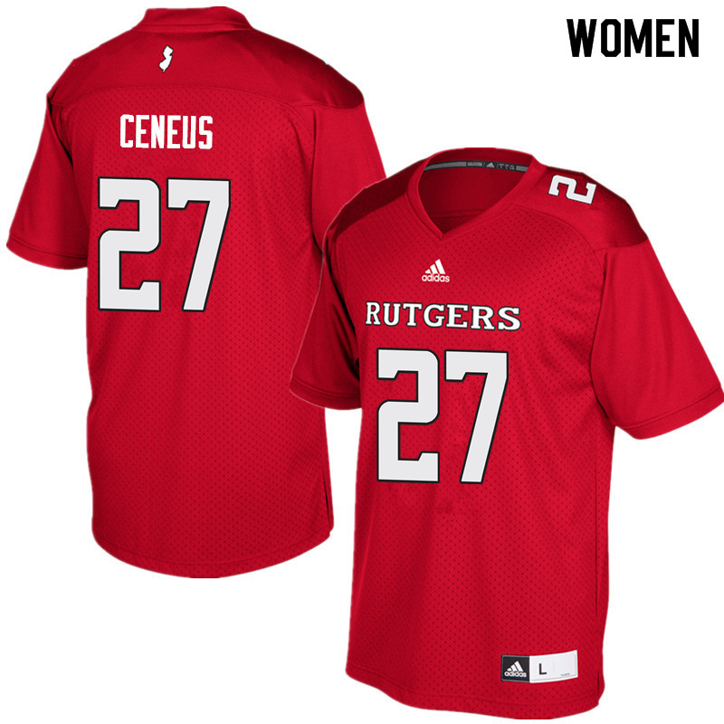 Women #27 McDerby Ceneus Rutgers Scarlet Knights College Football Jerseys Sale-Red