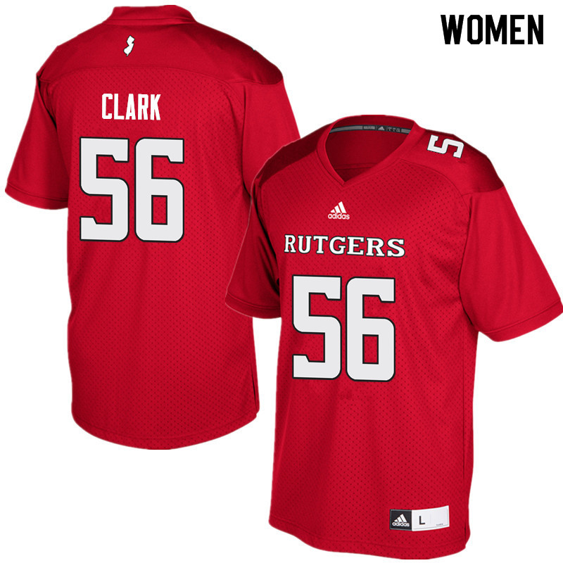 Women #56 Micah Clark Rutgers Scarlet Knights College Football Jerseys Sale-Red
