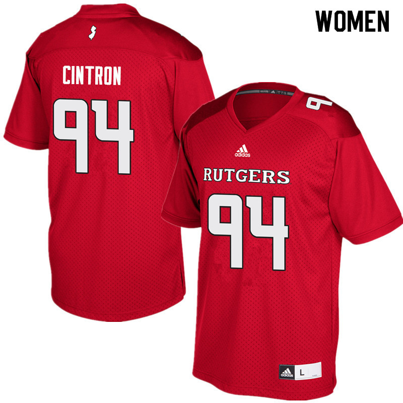Women #94 Michael Cintron Rutgers Scarlet Knights College Football Jerseys Sale-Red