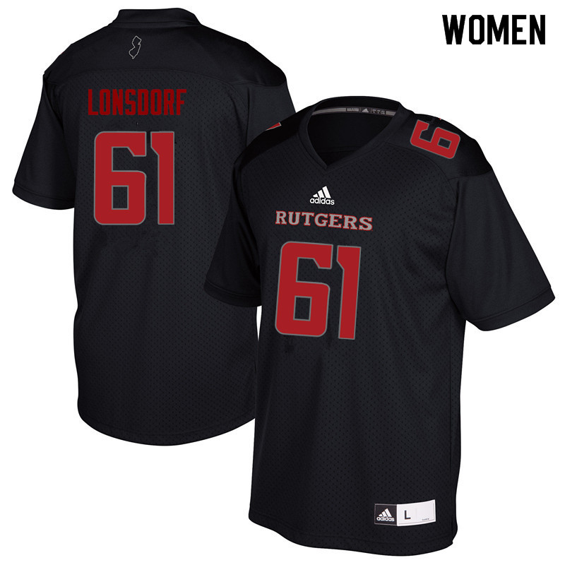 Women #61 Mike Lonsdorf Rutgers Scarlet Knights College Football Jerseys Sale-Black