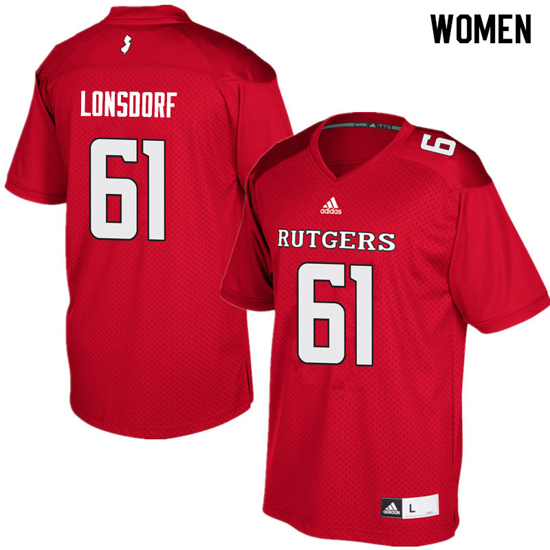Women #61 Mike Lonsdorf Rutgers Scarlet Knights College Football Jerseys Sale-Red