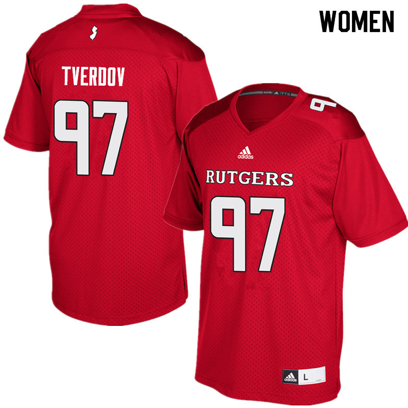 Women #97 Mike Tverdov Rutgers Scarlet Knights College Football Jerseys Sale-Red