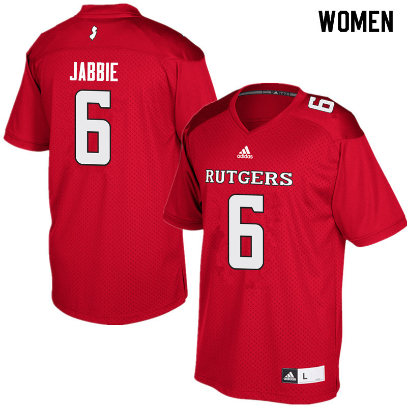 Women #6 Mohamed Jabbie Rutgers Scarlet Knights College Football Jerseys Sale-Red
