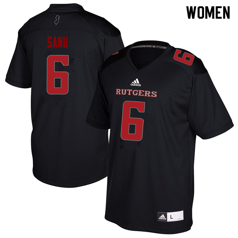 Women #6 Mohamed Sanu Rutgers Scarlet Knights College Football Jerseys Sale-Black