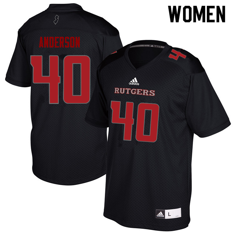 Women #40 Nihym Anderson Rutgers Scarlet Knights College Football Jerseys Sale-Black