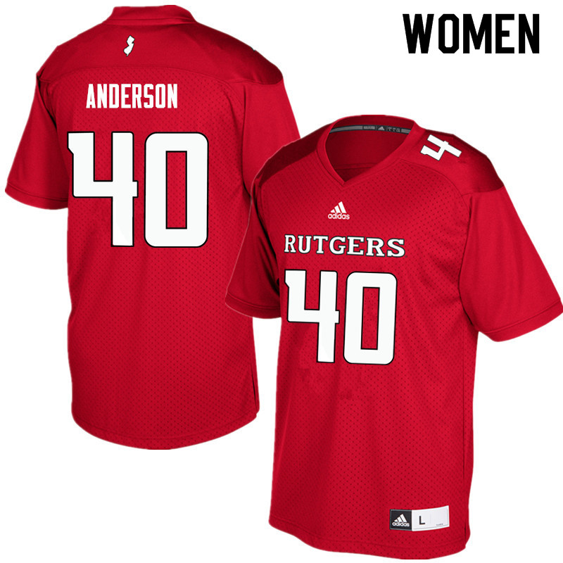 Women #40 Nihym Anderson Rutgers Scarlet Knights College Football Jerseys Sale-Red