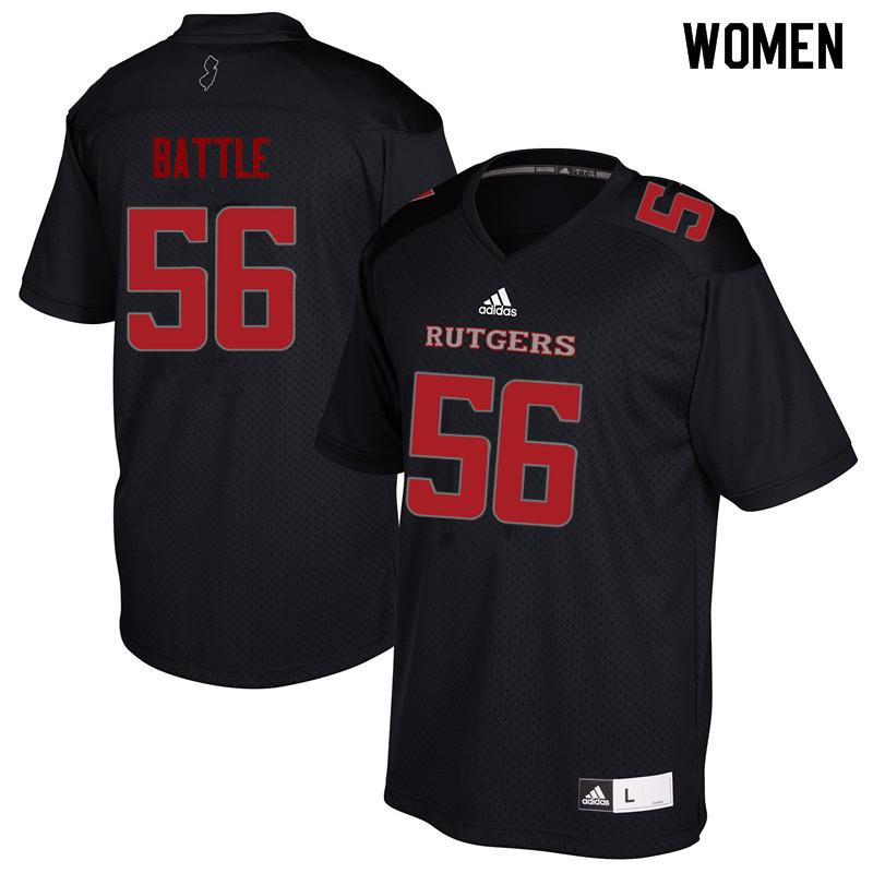 Women #56 Rashawn Battle Rutgers Scarlet Knights College Football Jerseys Sale-Black