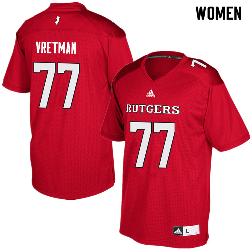 Women #77 Sam Vretman Rutgers Scarlet Knights College Football Jerseys Sale-Red