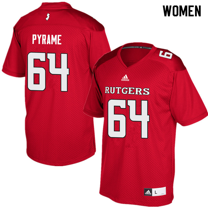 Women #64 Skiy Pyrame Rutgers Scarlet Knights College Football Jerseys Sale-Red