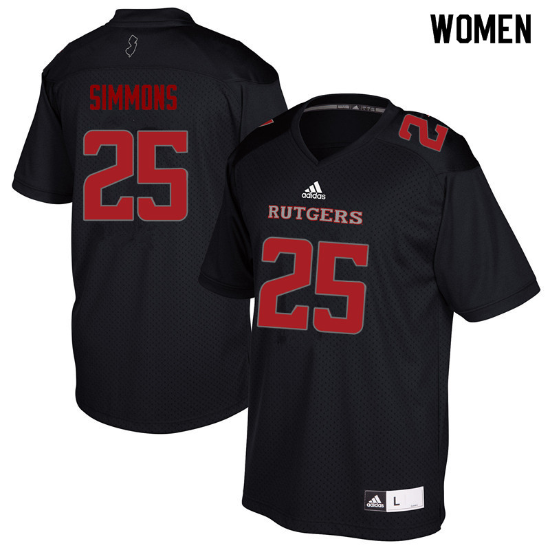 Women #25 Syheim Simmons Rutgers Scarlet Knights College Football Jerseys Sale-Black