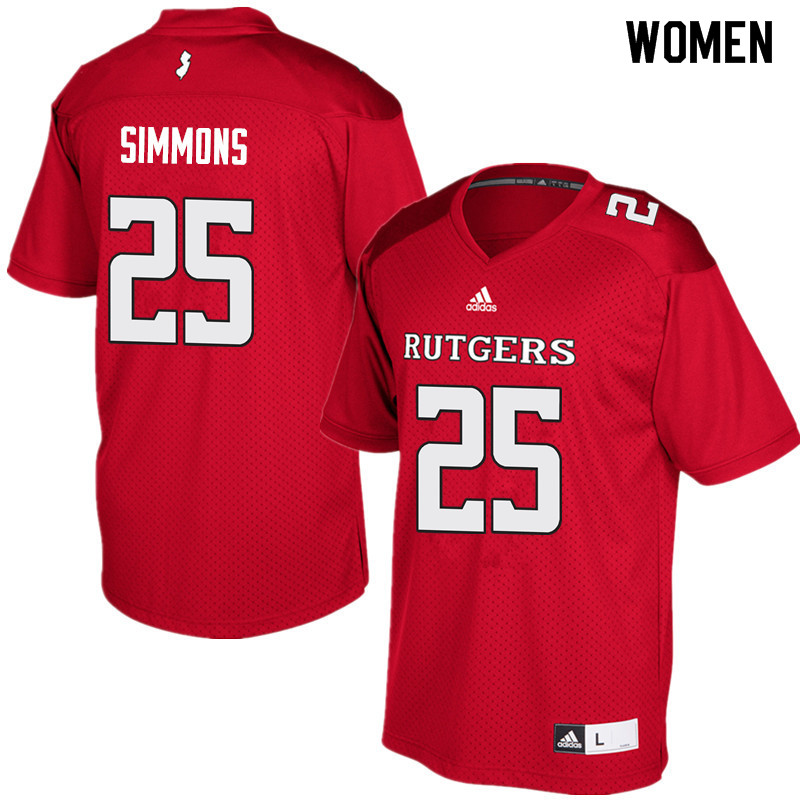Women #25 Syheim Simmons Rutgers Scarlet Knights College Football Jerseys Sale-Red