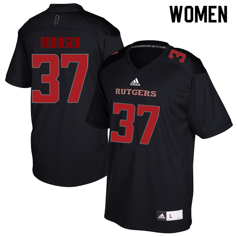 Women #37 TJ Robinson Rutgers Scarlet Knights College Football Jerseys Sale-Black