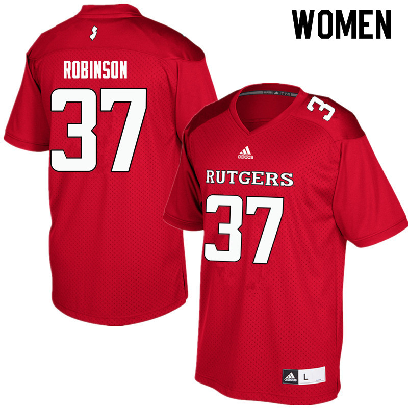 Women #37 TJ Robinson Rutgers Scarlet Knights College Football Jerseys Sale-Red