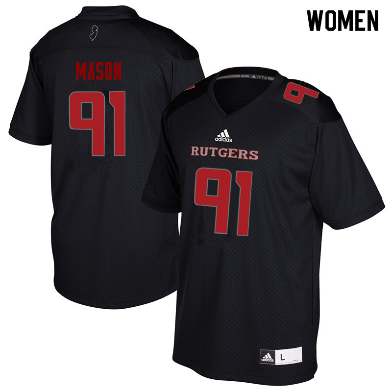 Women #91 Tijuan Mason Rutgers Scarlet Knights College Football Jerseys Sale-Black