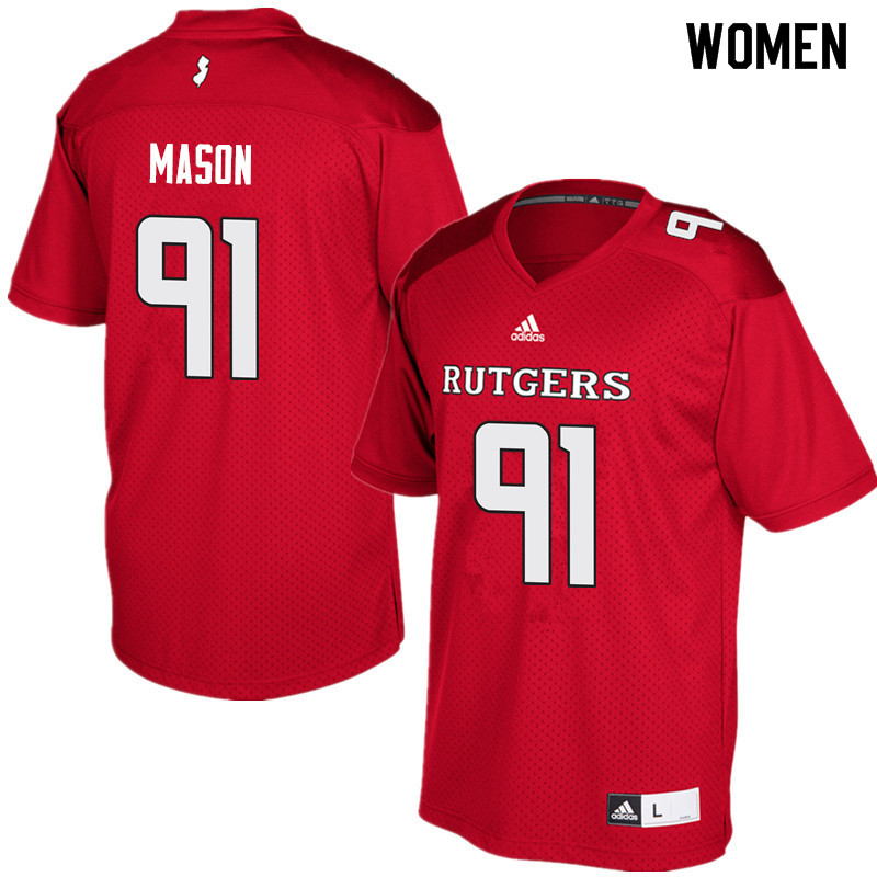 Women #91 Tijuan Mason Rutgers Scarlet Knights College Football Jerseys Sale-Red