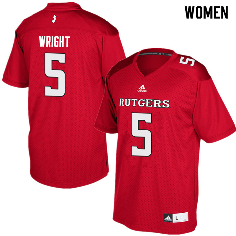 Women #5 Tim Wright Rutgers Scarlet Knights College Football Jerseys Sale-Red