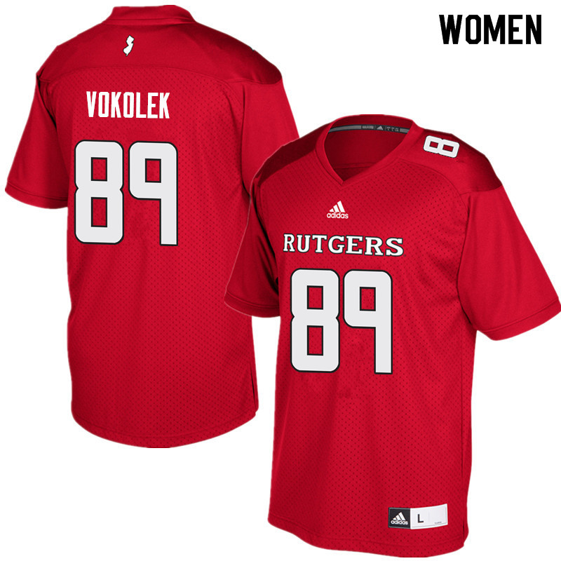 Women #89 Travis Vokolek Rutgers Scarlet Knights College Football Jerseys Sale-Red
