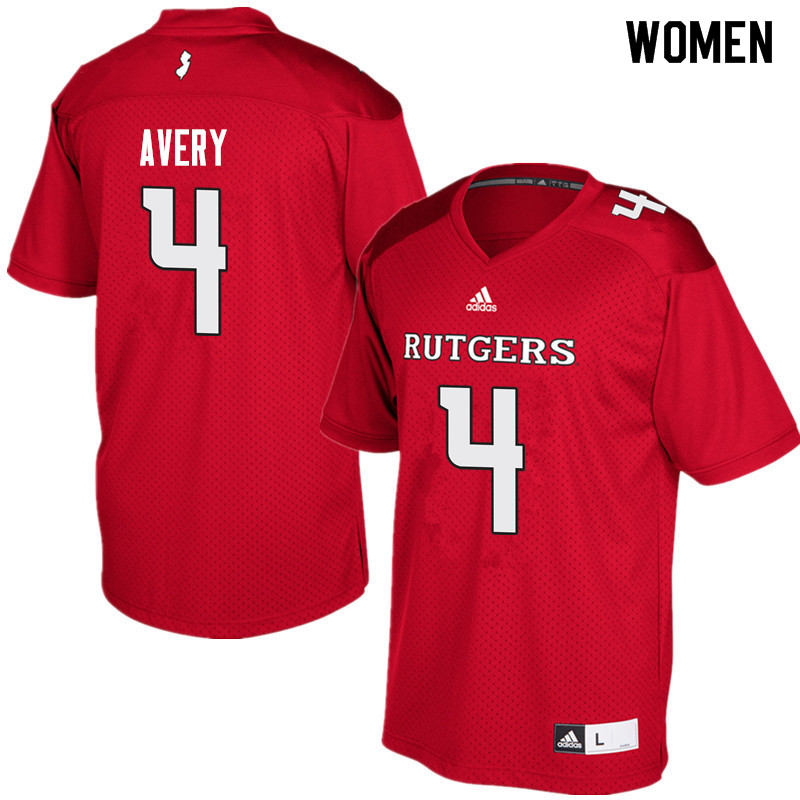 Women #4 Tre Avery Rutgers Scarlet Knights College Football Jerseys Sale-Red