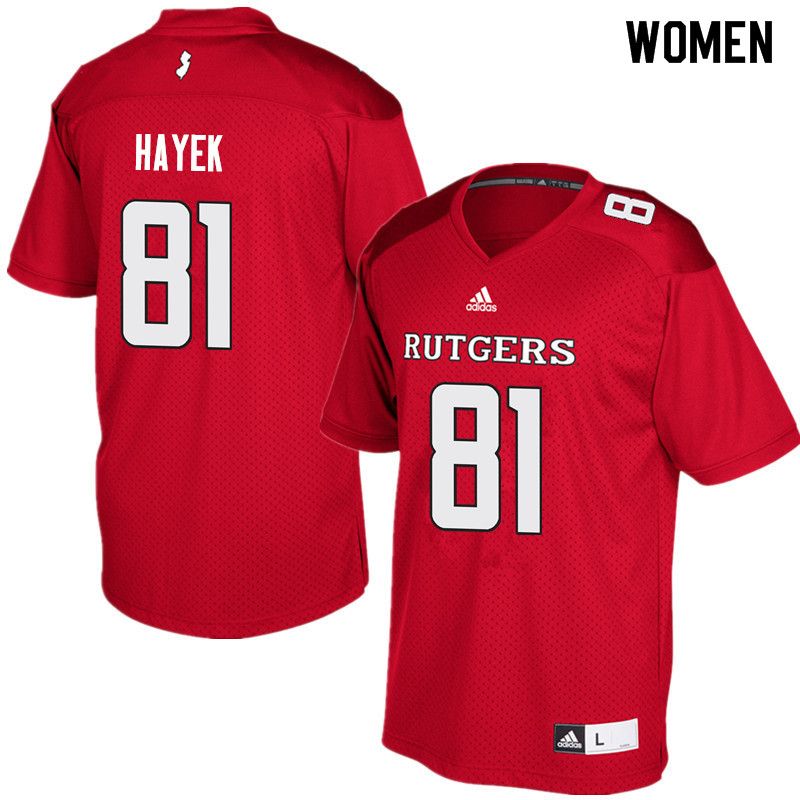 Women #81 Tyler Hayek Rutgers Scarlet Knights College Football Jerseys Sale-Red