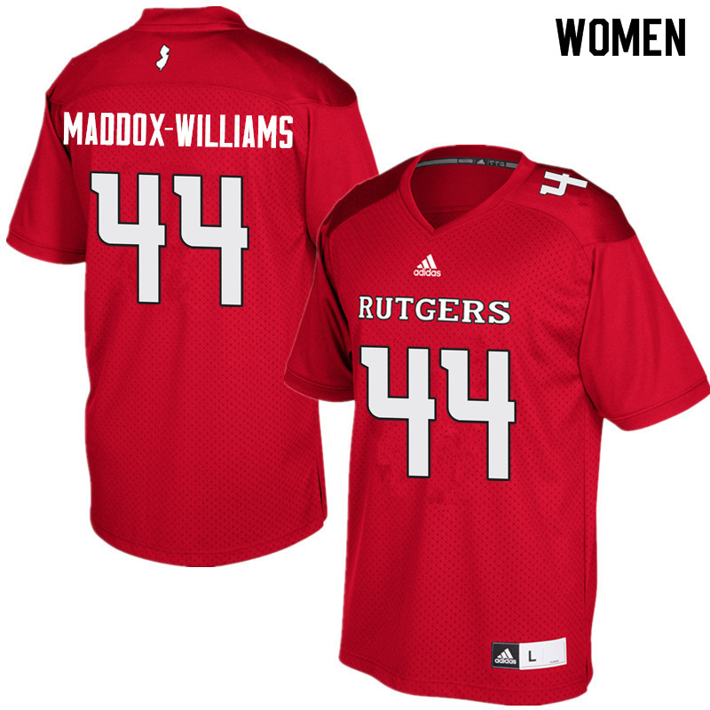 Women #44 Tyreek Maddox-Williams Rutgers Scarlet Knights College Football Jerseys Sale-Red