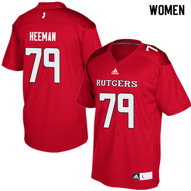 Women #79 Zack Heeman Rutgers Scarlet Knights College Football Jerseys Sale-Red
