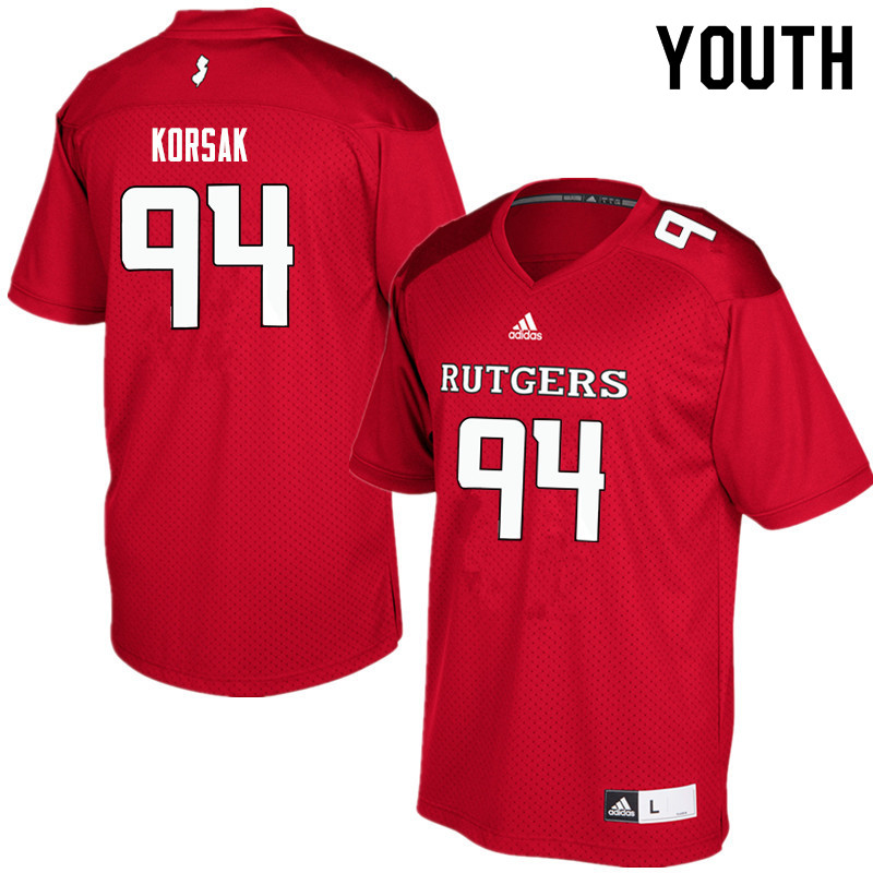 Youth #94 Adam Korsak Rutgers Scarlet Knights College Football Jerseys Sale-Red