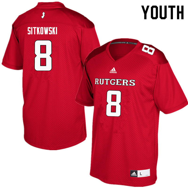 Youth #8 Artur Sitkowski Rutgers Scarlet Knights College Football Jerseys Sale-Red
