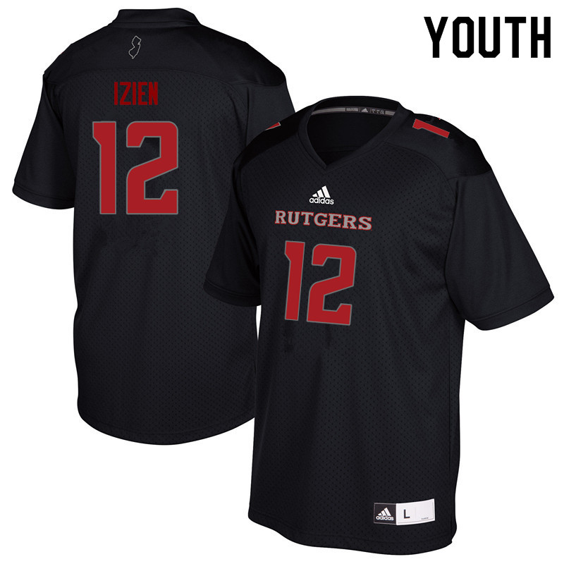 Youth #12 Christian Izien Rutgers Scarlet Knights College Football Jerseys Sale-Black