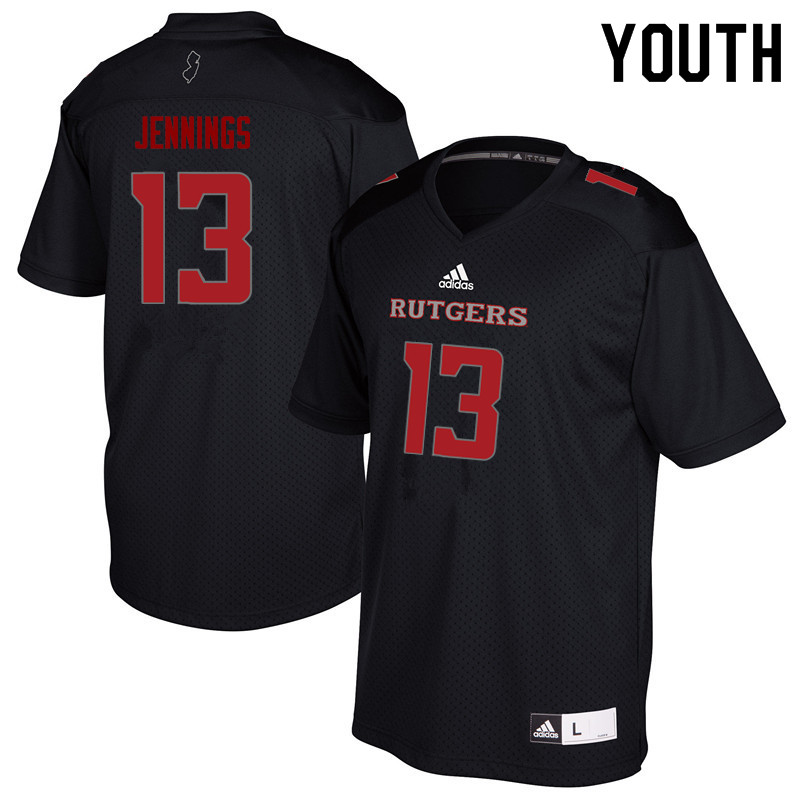 Youth #13 Deion Jennings Rutgers Scarlet Knights College Football Jerseys Sale-Black