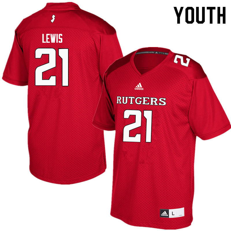 Youth #21 Eddie Lewis Rutgers Scarlet Knights College Football Jerseys Sale-Red