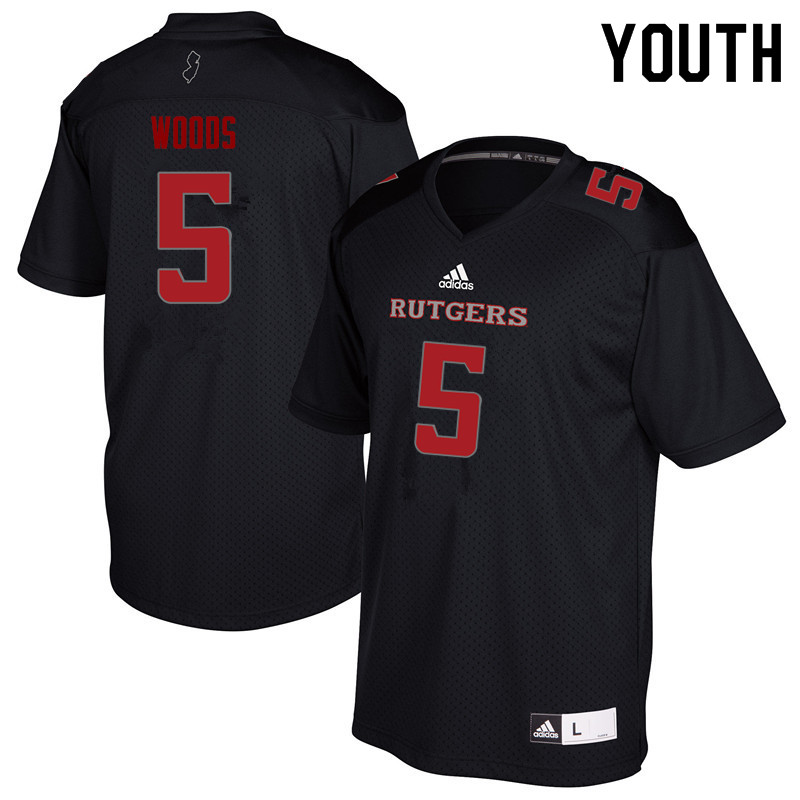 Youth #5 Paul Woods Rutgers Scarlet Knights College Football Jerseys Sale-Black