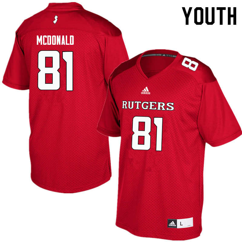 Youth #81 Rich McDonald Rutgers Scarlet Knights College Football Jerseys Sale-Red