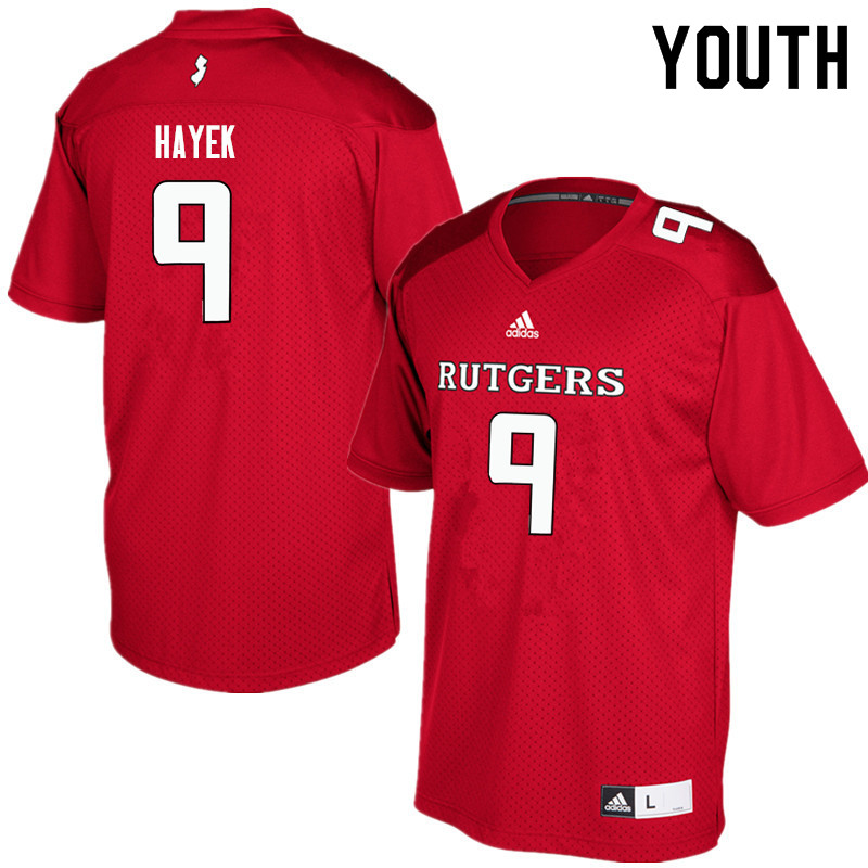 Youth #9 Tyler Hayek Rutgers Scarlet Knights College Football Jerseys Sale-Red