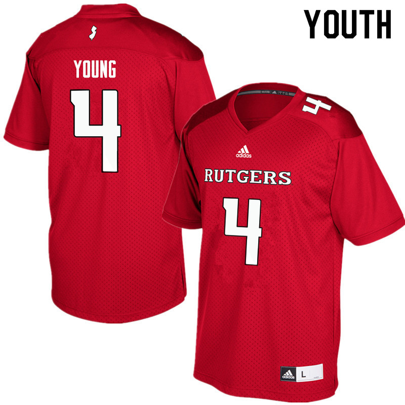 Youth #4 Aaron Young Rutgers Scarlet Knights College Football Jerseys Sale-Red