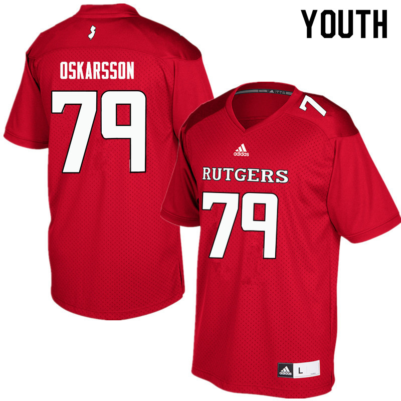 Youth #79 Anton Oskarsson Rutgers Scarlet Knights College Football Jerseys Sale-Red