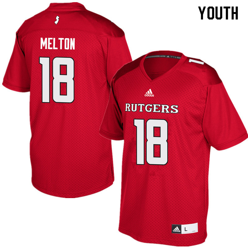 Youth #18 Bo Melton Rutgers Scarlet Knights College Football Jerseys Sale-Red