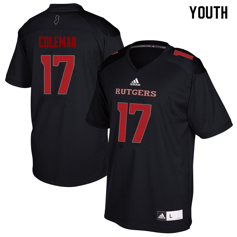 Youth #17 Brandon Coleman Rutgers Scarlet Knights College Football Jerseys Sale-Black