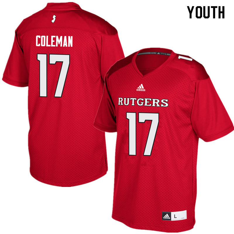 Youth #17 Brandon Coleman Rutgers Scarlet Knights College Football Jerseys Sale-Red