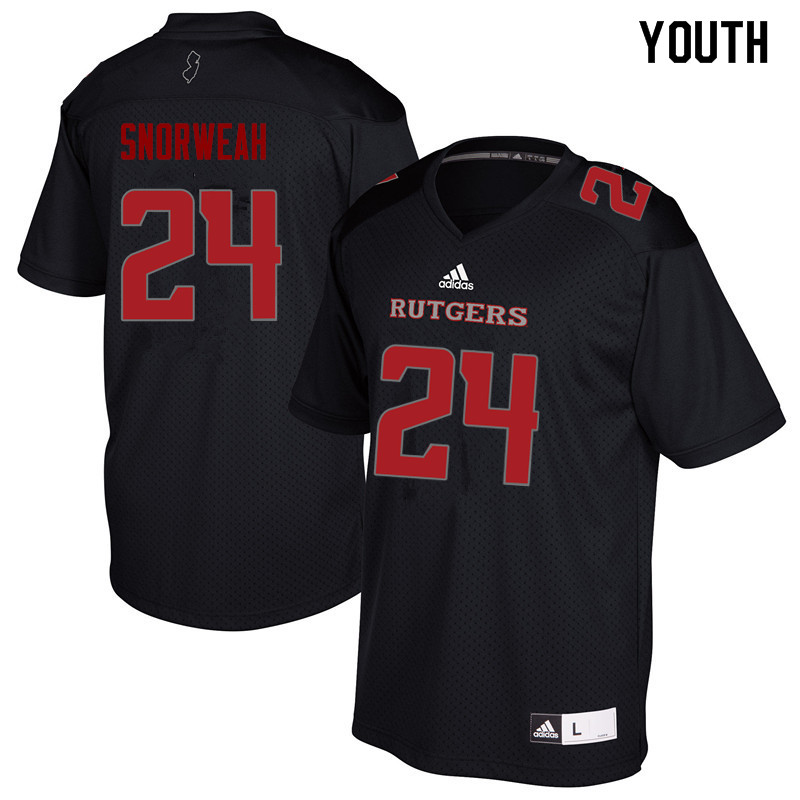 Youth #24 Charles Snorweah Rutgers Scarlet Knights College Football Jerseys Sale-Black