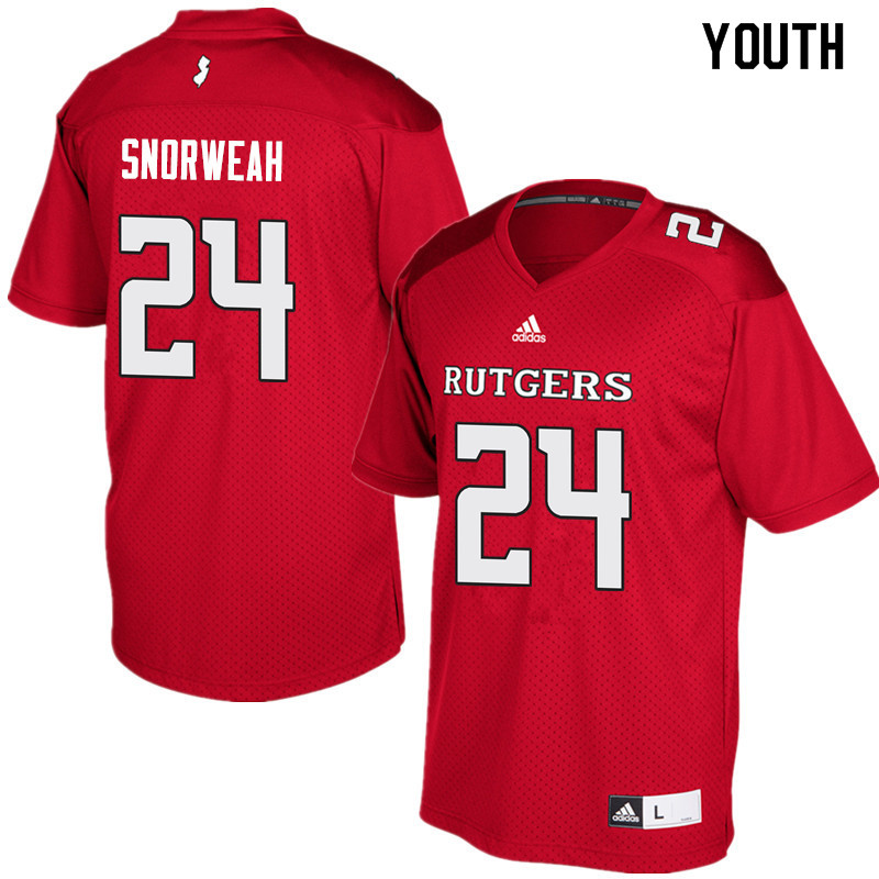 Youth #24 Charles Snorweah Rutgers Scarlet Knights College Football Jerseys Sale-Red