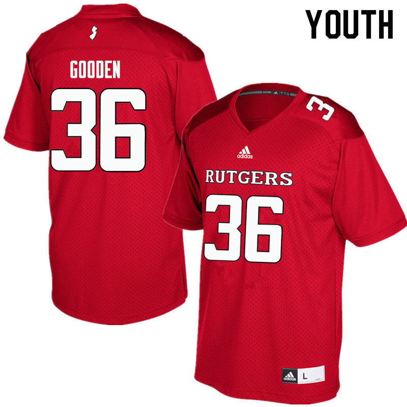 Youth #36 Darius Gooden Rutgers Scarlet Knights College Football Jerseys Sale-Red